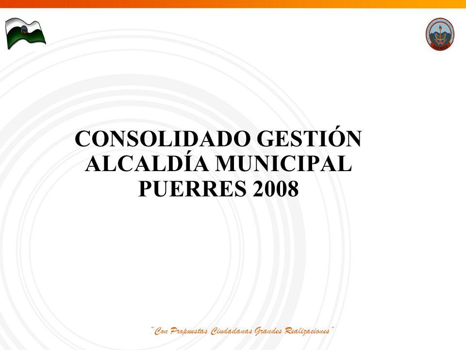 Con Propuestas Ciudadanas Grandes Realizaciones CONSOLIDADO GESTIÓN ALCALDÍA MUNICIPAL PUERRES 2008