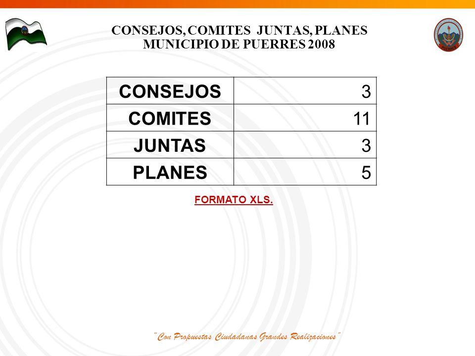 Con Propuestas Ciudadanas Grandes Realizaciones CONSEJOS, COMITES JUNTAS, PLANES MUNICIPIO DE PUERRES 2008 CONSEJOS3 COMITES11 JUNTAS3 PLANES5 FORMATO XLS.