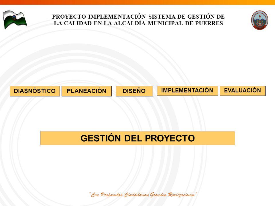 Con Propuestas Ciudadanas Grandes Realizaciones PROYECTO IMPLEMENTACIÓN SISTEMA DE GESTIÓN DE LA CALIDAD EN LA ALCALDÍA MUNICIPAL DE PUERRES EVALUACIÓNIMPLEMENTACIÓN DISEÑOPLANEACIÓN GESTIÓN DEL PROYECTO DIASNÓSTICO
