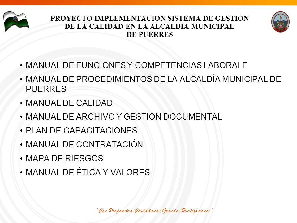 Con Propuestas Ciudadanas Grandes Realizaciones PROYECTO IMPLEMENTACION SISTEMA DE GESTIÓN DE LA CALIDAD EN LA ALCALDÍA MUNICIPAL DE PUERRES MANUAL DE FUNCIONES Y COMPETENCIAS LABORALE MANUAL DE PROCEDIMIENTOS DE LA ALCALDÍA MUNICIPAL DE PUERRES MANUAL DE CALIDAD MANUAL DE ARCHIVO Y GESTIÓN DOCUMENTAL PLAN DE CAPACITACIONES MANUAL DE CONTRATACIÓN MAPA DE RIESGOS MANUAL DE ÉTICA Y VALORES