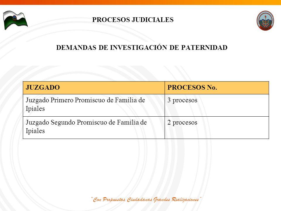 Con Propuestas Ciudadanas Grandes Realizaciones PROCESOS JUDICIALES DEMANDAS DE INVESTIGACIÓN DE PATERNIDAD JUZGADOPROCESOS No.