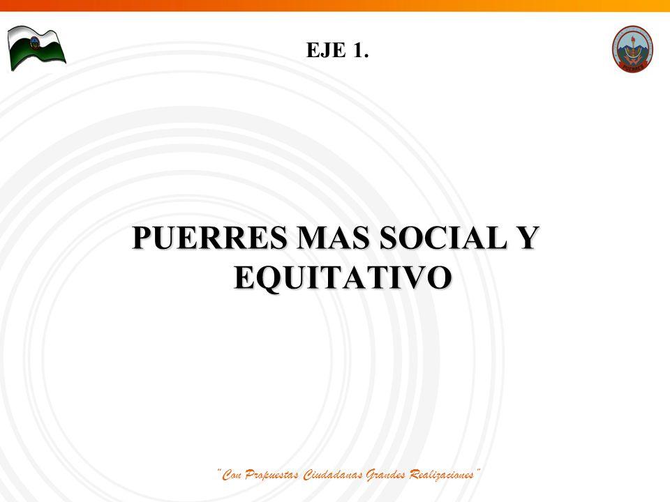 Con Propuestas Ciudadanas Grandes Realizaciones EJE 1. PUERRES MAS SOCIAL Y EQUITATIVO