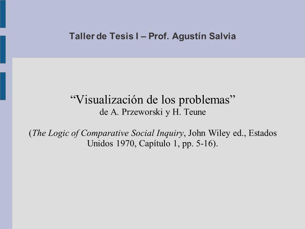 Taller de Tesis I – Prof. Agustín Salvia Visualización de los problemas de A.