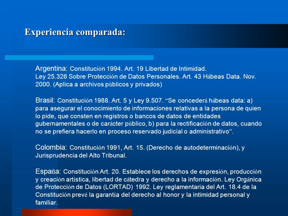 Legislaci ó n internacional de protecci ó n de datos personales y h á beas data.