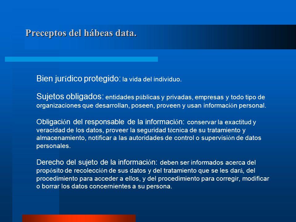Sujeto de la informaci ó n: El individuo interesado por naturaleza en datos que conciernen a su persona.