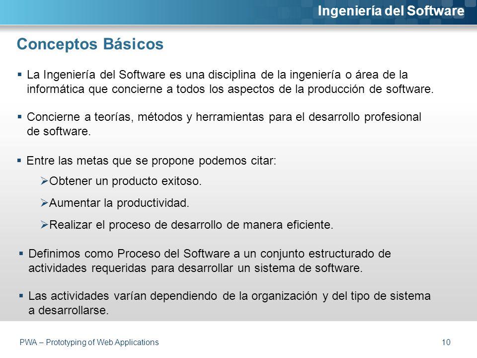 Conceptos Básicos  La Ingeniería del Software es una disciplina de la ingeniería o área de la informática que concierne a todos los aspectos de la producción de software.