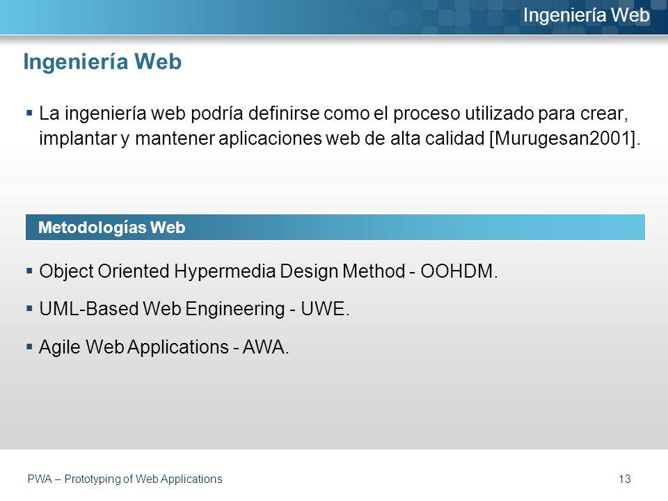 Ingeniería Web  La ingeniería web podría definirse como el proceso utilizado para crear, implantar y mantener aplicaciones web de alta calidad [Murugesan2001].