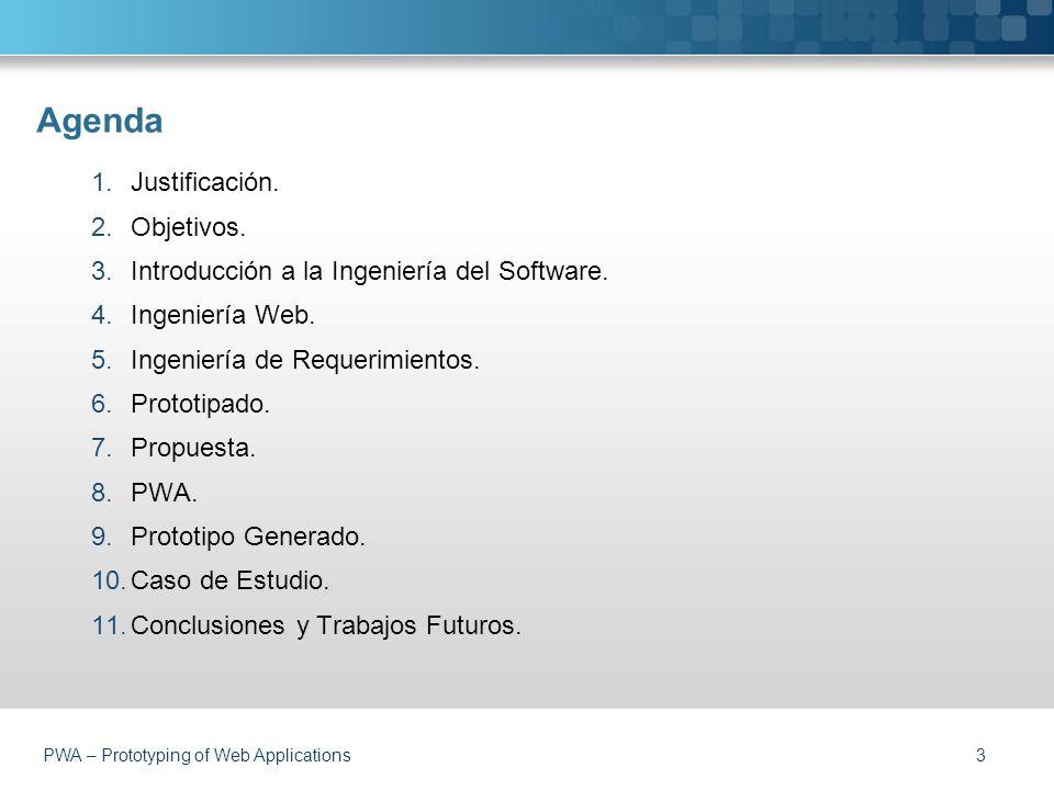 PWA – Prototyping of Web Applications Agenda 3 1.Justificación.