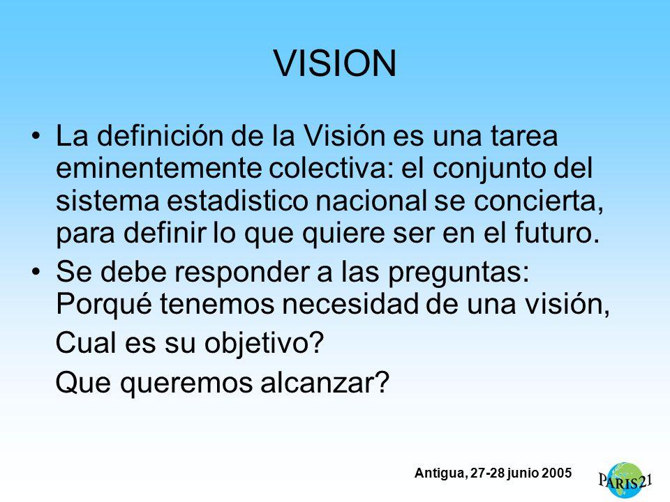 Antigua, 27-28 junio 2005 VISION La definición de la Visión es una tarea eminentemente colectiva: el conjunto del sistema estadistico nacional se concierta, para definir lo que quiere ser en el futuro.