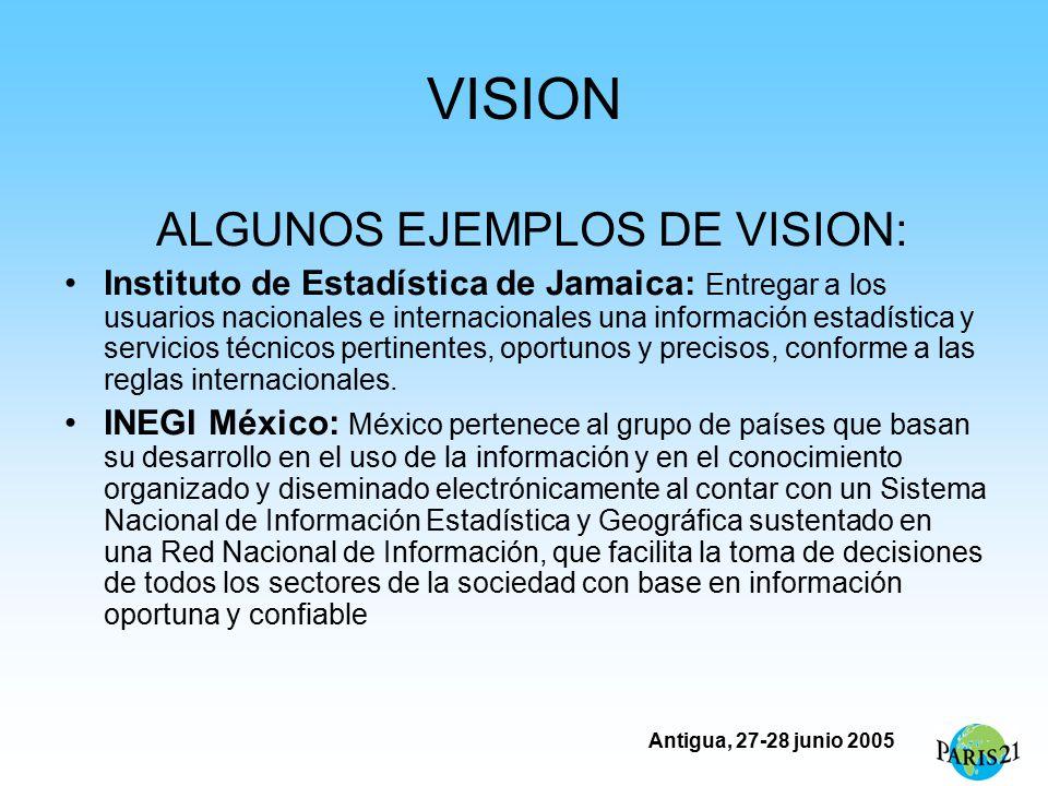 Antigua, 27-28 junio 2005 VISION ALGUNOS EJEMPLOS DE VISION: Instituto de Estadística de Jamaica: Entregar a los usuarios nacionales e internacionales una información estadística y servicios técnicos pertinentes, oportunos y precisos, conforme a las reglas internacionales.