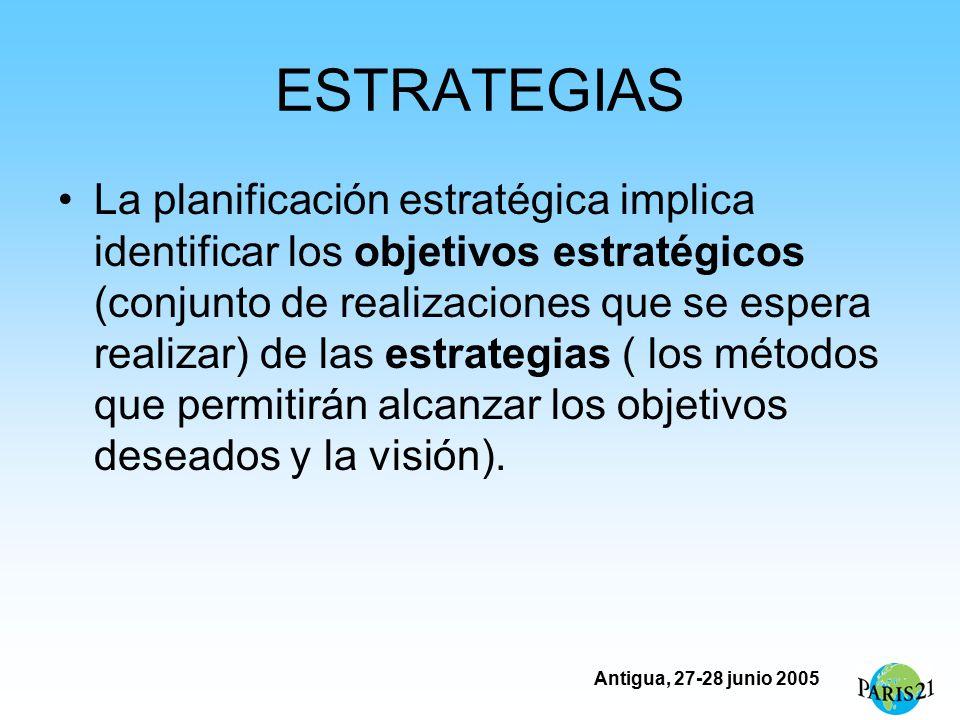 Antigua, 27-28 junio 2005 ESTRATEGIAS La planificación estratégica implica identificar los objetivos estratégicos (conjunto de realizaciones que se espera realizar) de las estrategias ( los métodos que permitirán alcanzar los objetivos deseados y la visión).