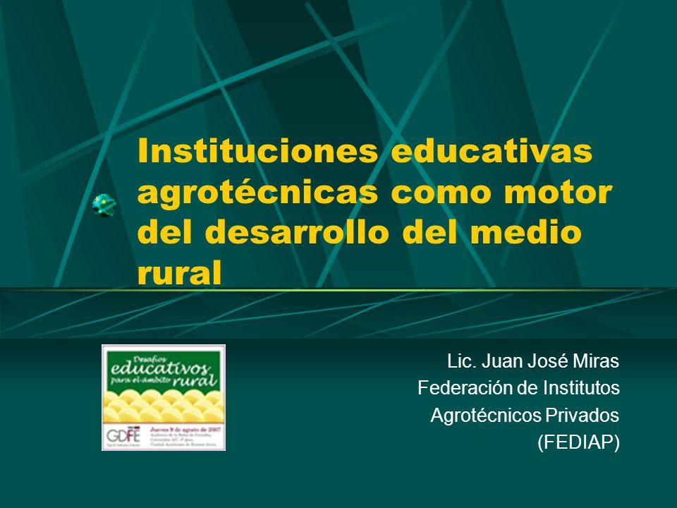 Instituciones educativas agrotécnicas como motor del desarrollo del medio rural Lic.