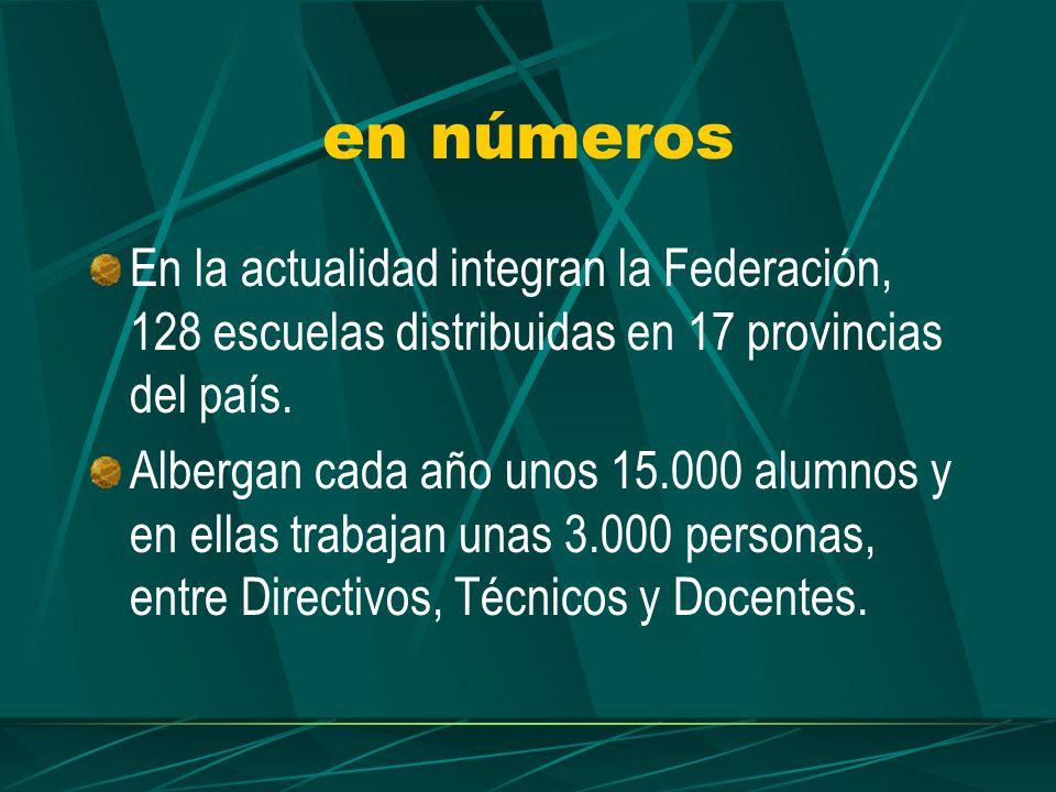en números En la actualidad integran la Federación, 128 escuelas distribuidas en 17 provincias del país.