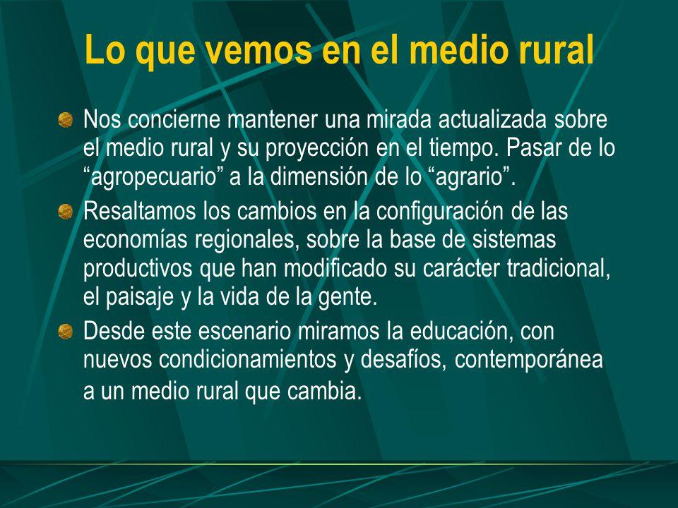 Lo que vemos en el medio rural Nos concierne mantener una mirada actualizada sobre el medio rural y su proyección en el tiempo.