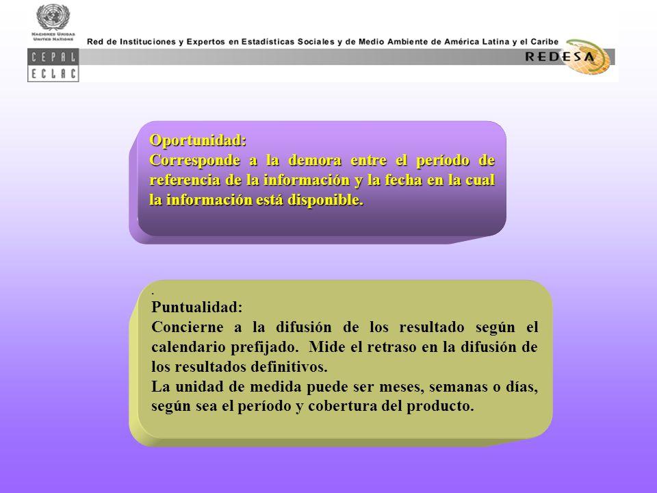 Oportunidad: Corresponde a la demora entre el período de referencia de la información y la fecha en la cual la información está disponible..