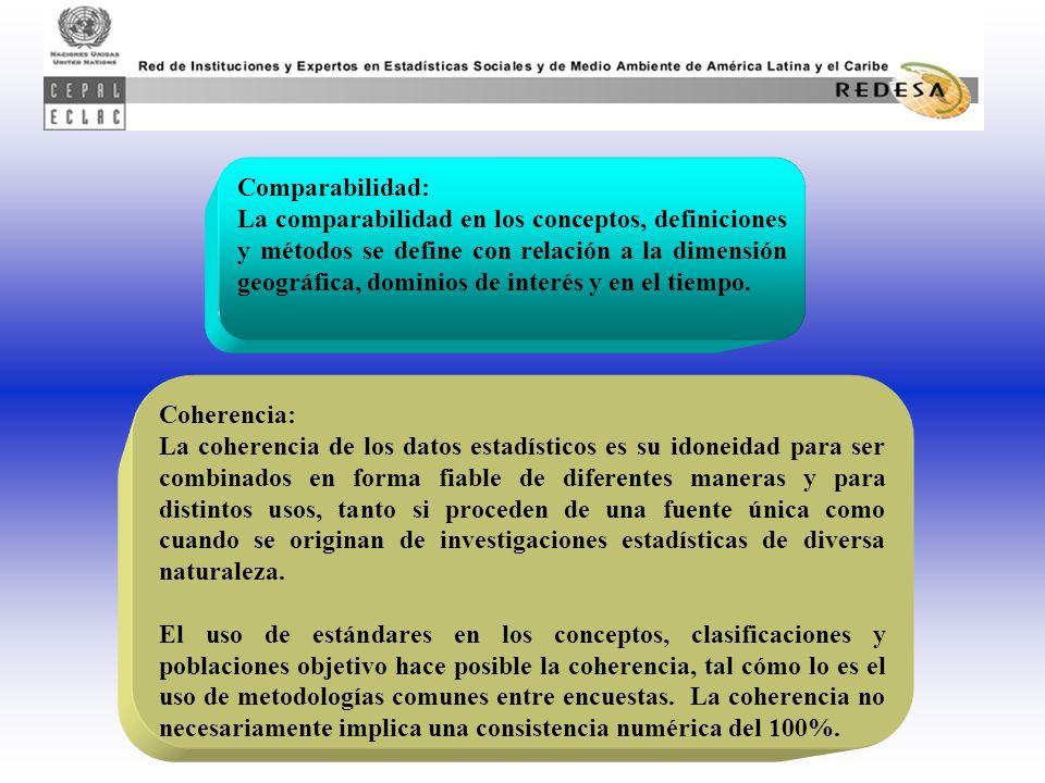 Comparabilidad: La comparabilidad en los conceptos, definiciones y métodos se define con relación a la dimensión geográfica, dominios de interés y en el tiempo.