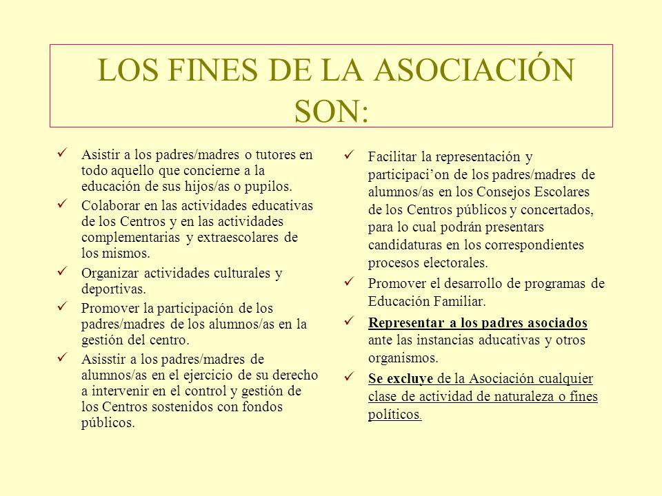 LOS FINES DE LA ASOCIACIÓN SON: Asistir a los padres/madres o tutores en todo aquello que concierne a la educación de sus hijos/as o pupilos.