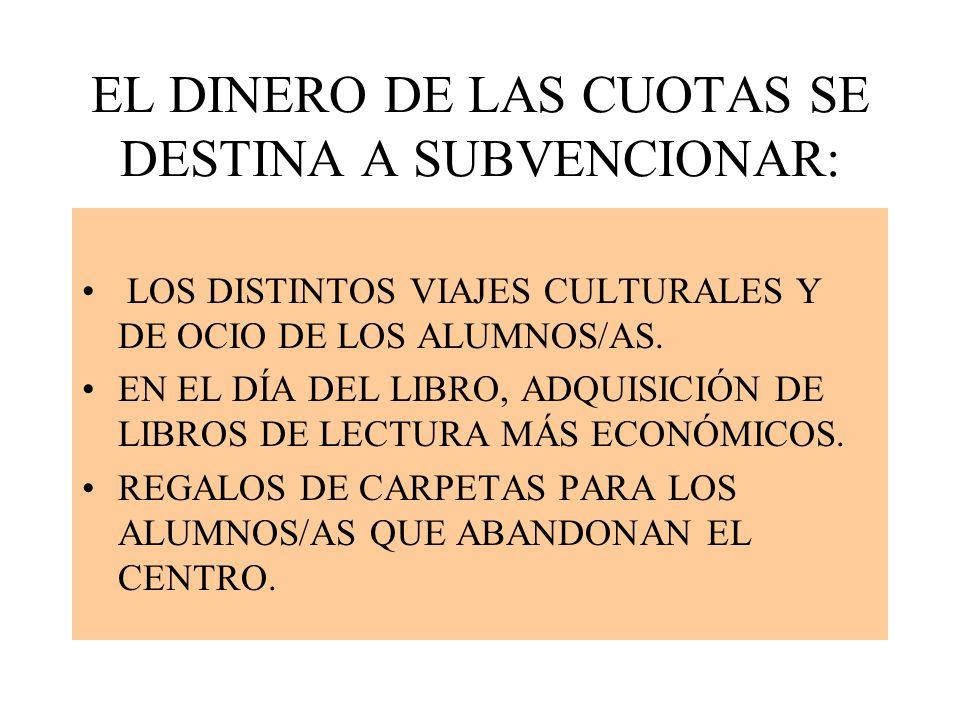 EL DINERO DE LAS CUOTAS SE DESTINA A SUBVENCIONAR: LOS DISTINTOS VIAJES CULTURALES Y DE OCIO DE LOS ALUMNOS/AS.