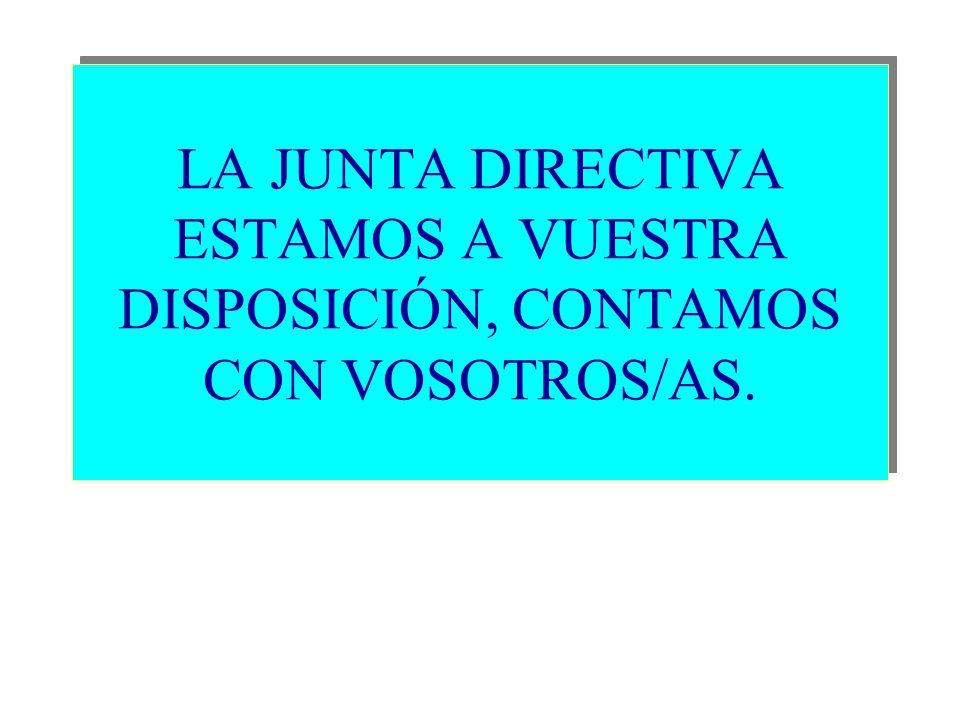 LA JUNTA DIRECTIVA ESTAMOS A VUESTRA DISPOSICIÓN, CONTAMOS CON VOSOTROS/AS.