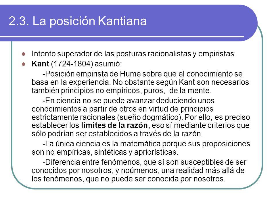 2.3. La posición Kantiana Intento superador de las posturas racionalistas y empiristas.