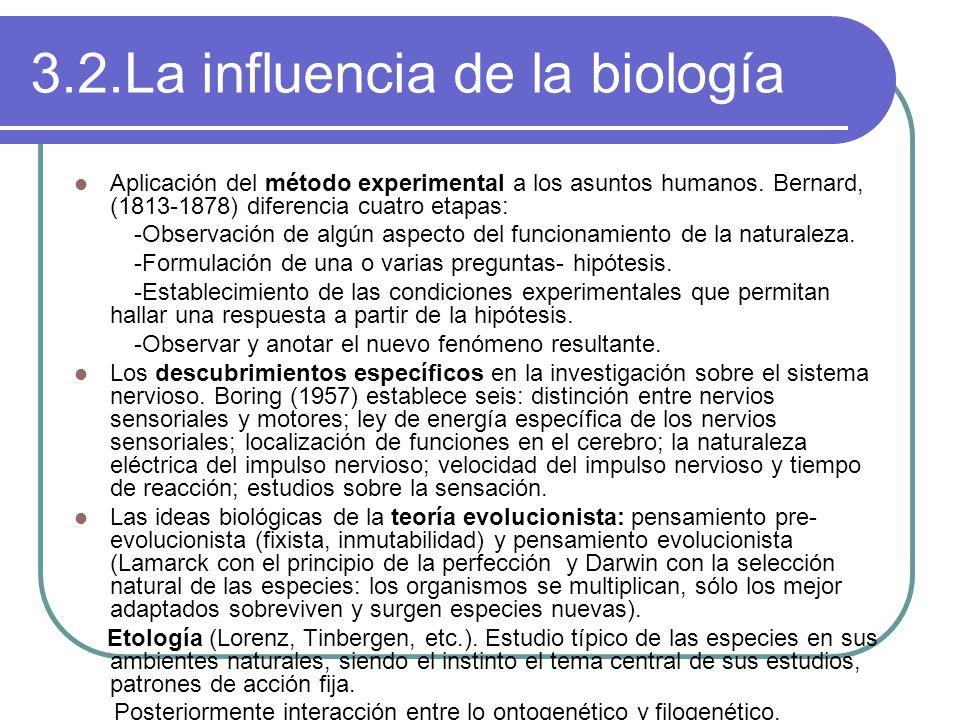 3.2.La influencia de la biología Aplicación del método experimental a los asuntos humanos.