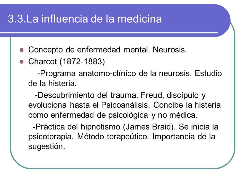 3.3.La influencia de la medicina Concepto de enfermedad mental.