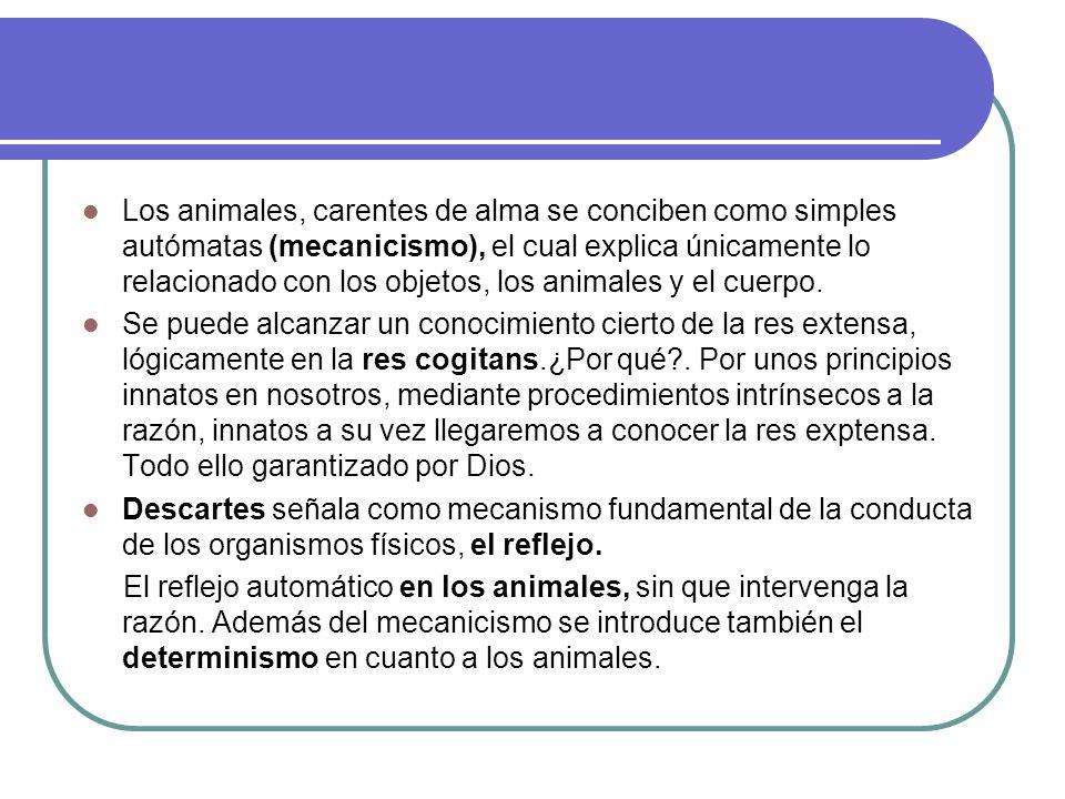 Los animales, carentes de alma se conciben como simples autómatas (mecanicismo), el cual explica únicamente lo relacionado con los objetos, los animales y el cuerpo.