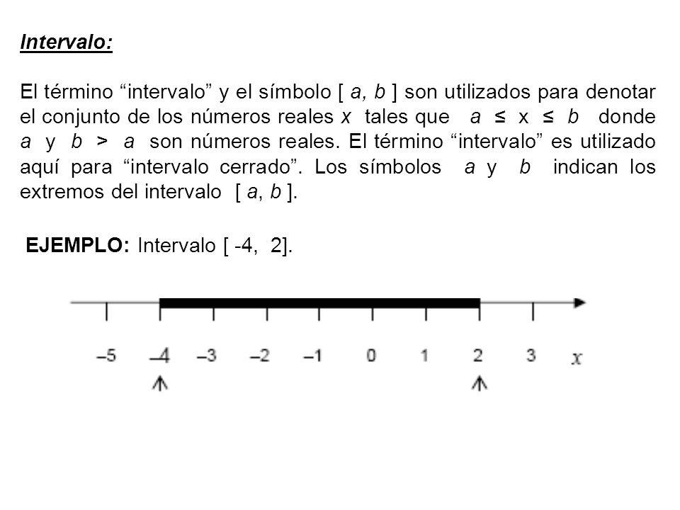 Intervalo: El término intervalo y el símbolo [ a, b ] son utilizados para denotar el conjunto de los números reales x tales que a ≤ x ≤ b donde a y b > a son números reales.