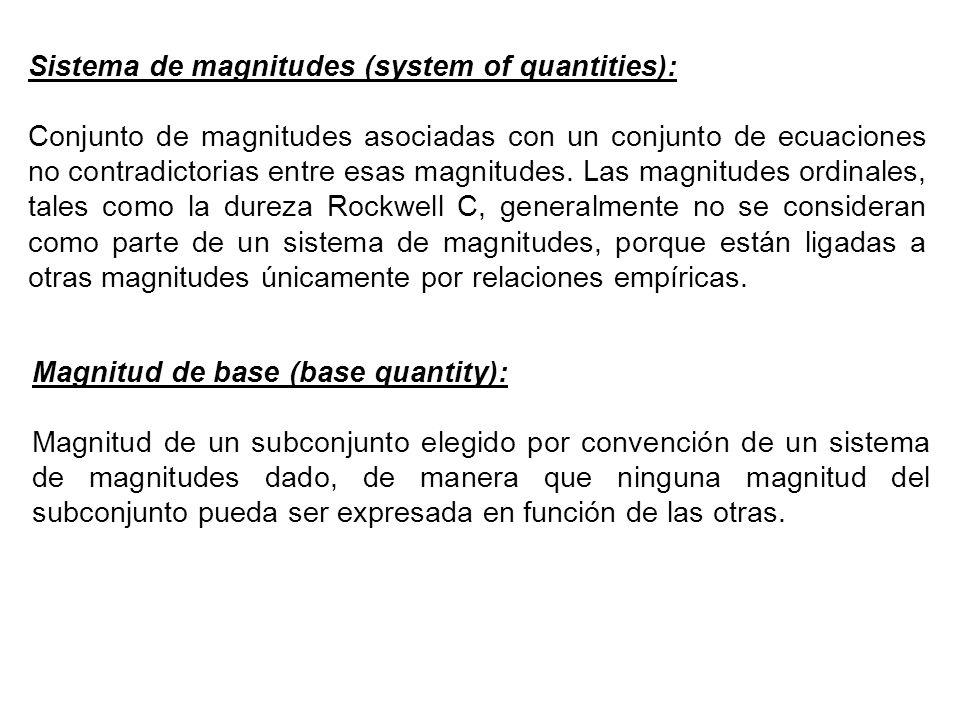 Sistema de magnitudes (system of quantities): Conjunto de magnitudes asociadas con un conjunto de ecuaciones no contradictorias entre esas magnitudes.