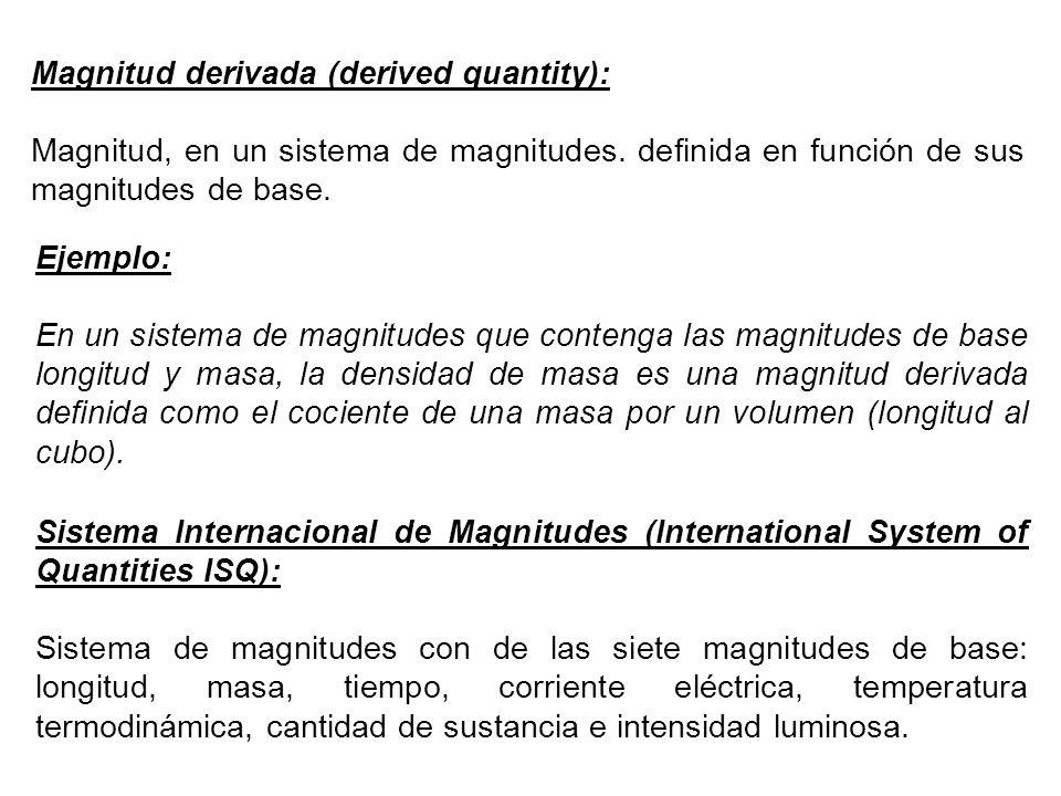 Magnitud derivada (derived quantity): Magnitud, en un sistema de magnitudes.