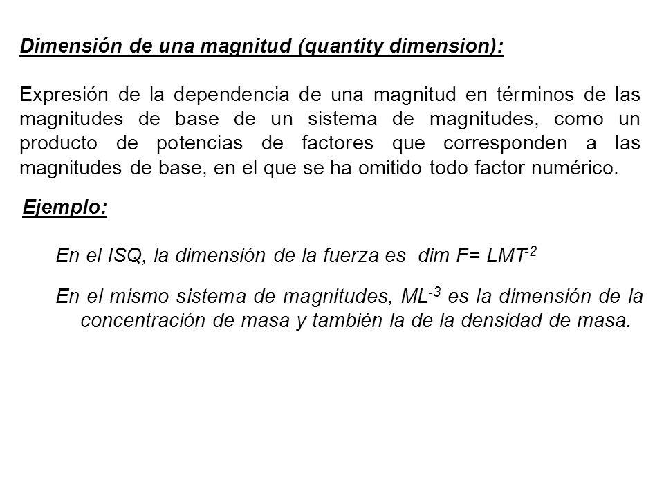 Dimensión de una magnitud (quantity dimension): Expresión de la dependencia de una magnitud en términos de las magnitudes de base de un sistema de magnitudes, como un producto de potencias de factores que corresponden a las magnitudes de base, en el que se ha omitido todo factor numérico.