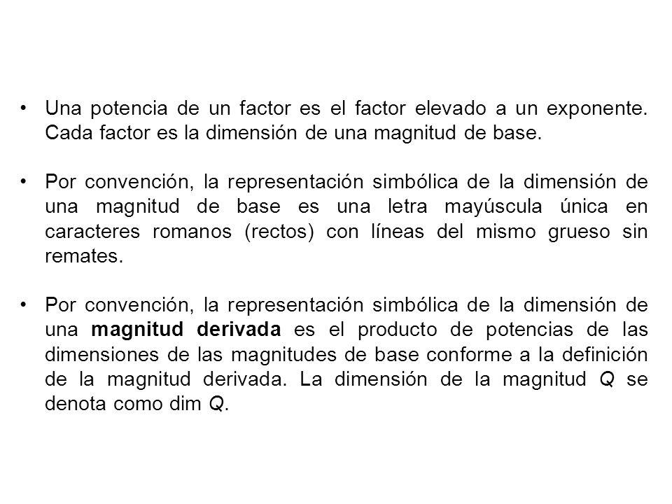 Una potencia de un factor es el factor elevado a un exponente.