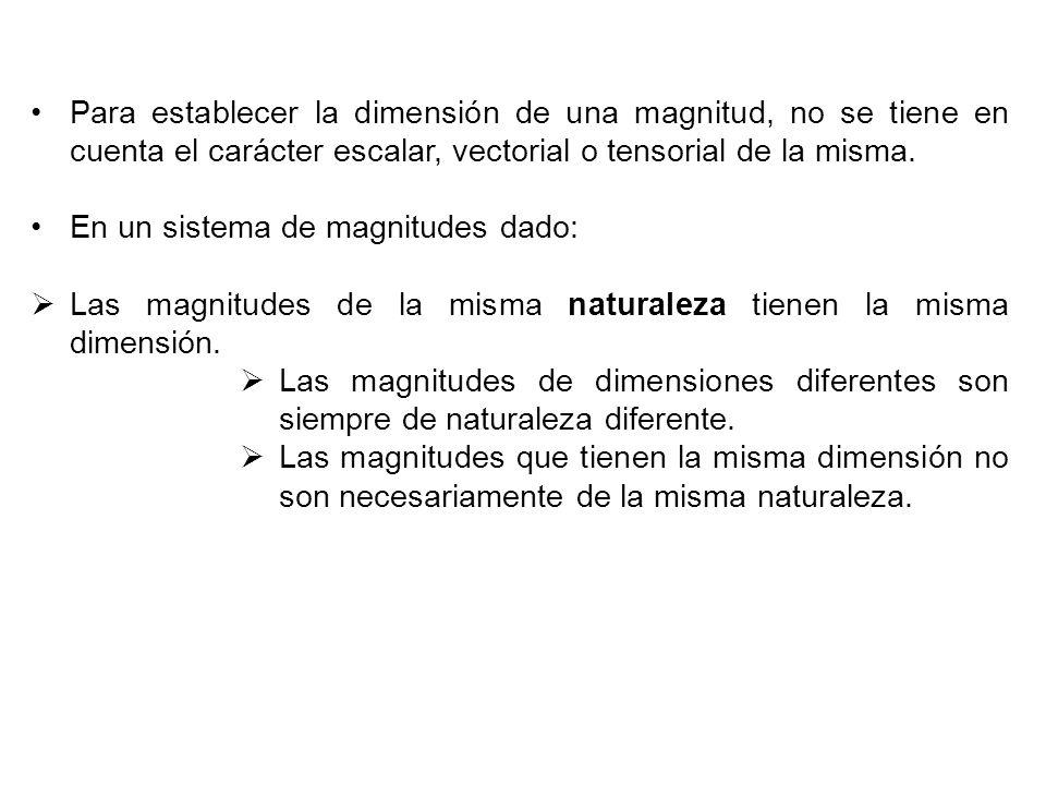 Para establecer la dimensión de una magnitud, no se tiene en cuenta el carácter escalar, vectorial o tensorial de la misma.