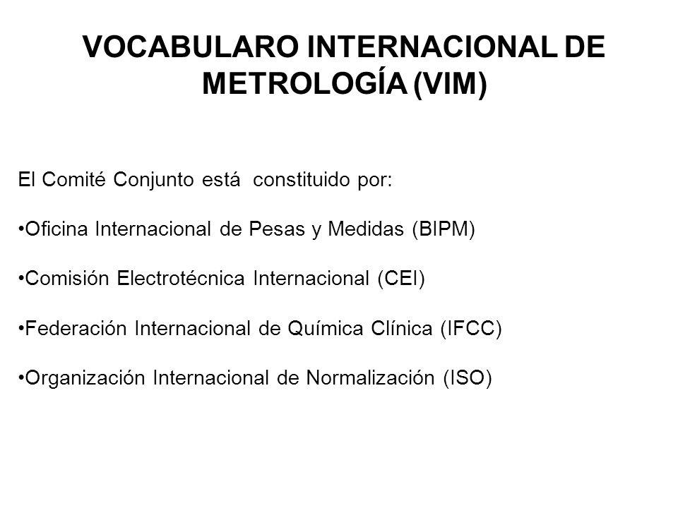 VOCABULARO INTERNACIONAL DE METROLOGÍA (VIM) El Comité Conjunto está constituido por: Oficina Internacional de Pesas y Medidas (BIPM) Comisión Electrotécnica Internacional (CEI) Federación Internacional de Química Clínica (IFCC) Organización Internacional de Normalización (ISO)
