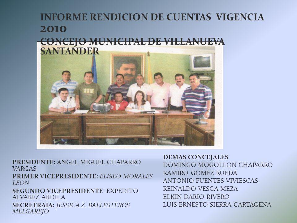 INFORME RENDICION DE CUENTAS VIGENCIA 2010 CONCEJO MUNICIPAL DE VILLANUEVA SANTANDER DEMAS CONCEJALES DOMINGO MOGOLLON CHAPARRO RAMIRO GOMEZ RUEDA ANTONIO FUENTES VIVIESCAS REINALDO VESGA MEZA ELKIN DARIO RIVERO LUIS ERNESTO SIERRA CARTAGENA PRESIDENTE: ANGEL MIGUEL CHAPARRO VARGAS PRIMER VICEPRESIDENTE: ELISEO MORALES LEON SEGUNDO VICEPRESIDENTE: EXPEDITO ALVAREZ ARDILA SECRETRAIA: JESSICA Z.
