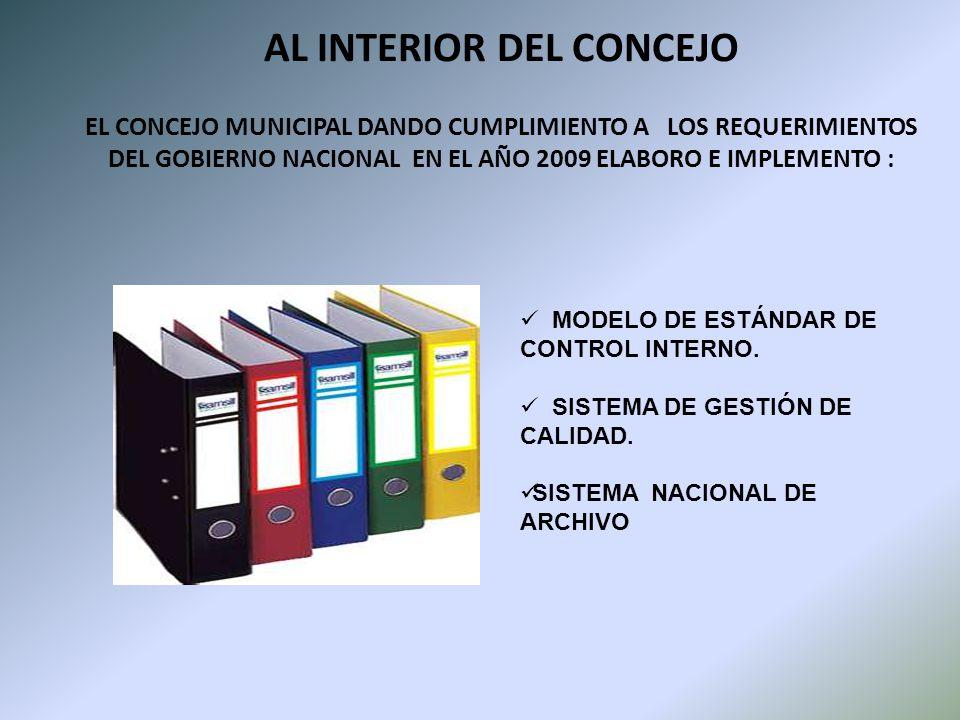 AL INTERIOR DEL CONCEJO EL CONCEJO MUNICIPAL DANDO CUMPLIMIENTO A LOS REQUERIMIENTOS DEL GOBIERNO NACIONAL EN EL AÑO 2009 ELABORO E IMPLEMENTO : MODELO DE ESTÁNDAR DE CONTROL INTERNO.