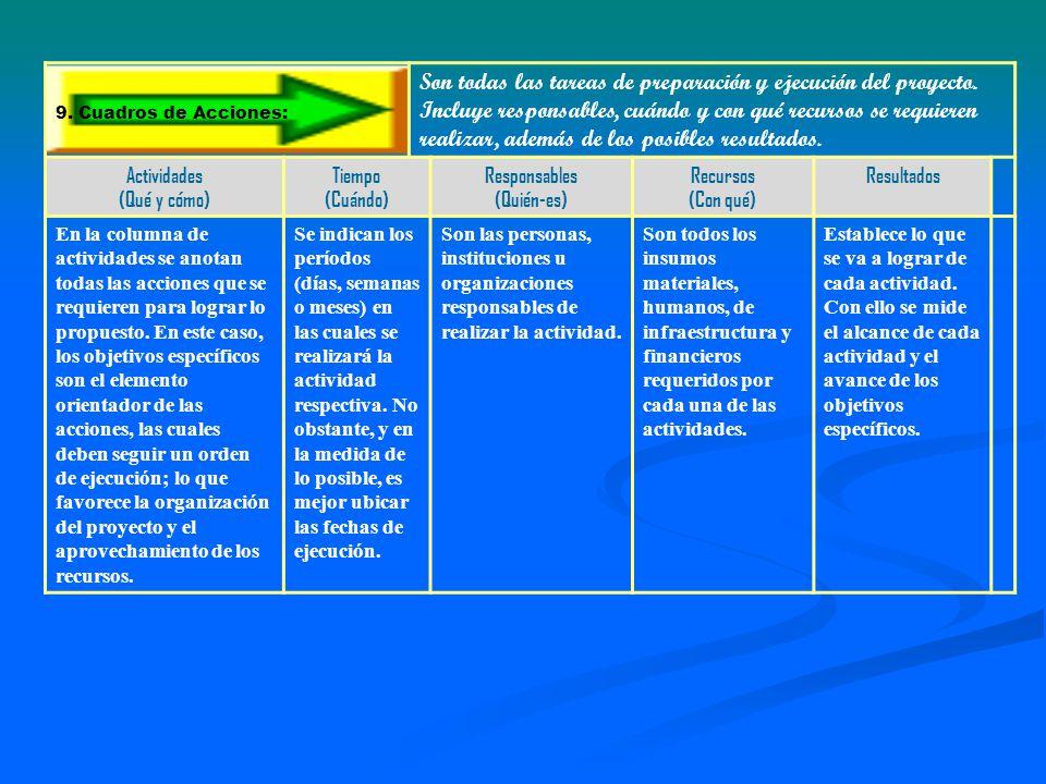9. Cuadros de Acciones: Son todas las tareas de preparación y ejecución del proyecto.