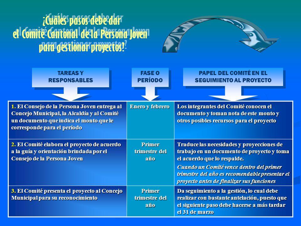 TAREAS Y RESPONSABLES FASE O PERÍODO PAPEL DEL COMITÉ EN EL SEGUIMIENTO AL PROYECTO 1.