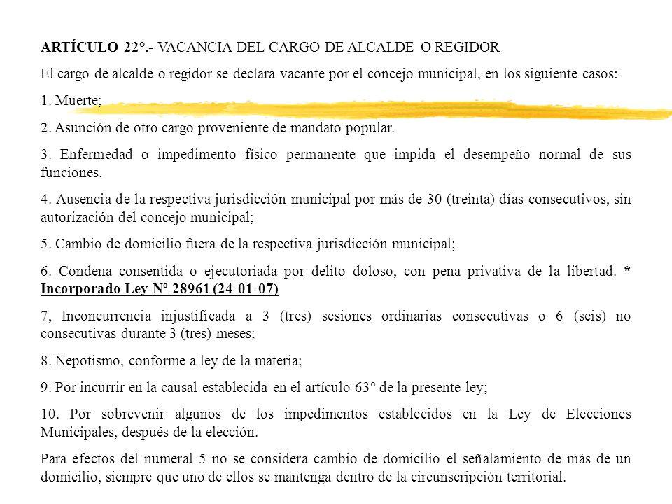 ARTÍCULO 22°.- VACANCIA DEL CARGO DE ALCALDE O REGIDOR El cargo de alcalde o regidor se declara vacante por el concejo municipal, en los siguiente casos: 1.