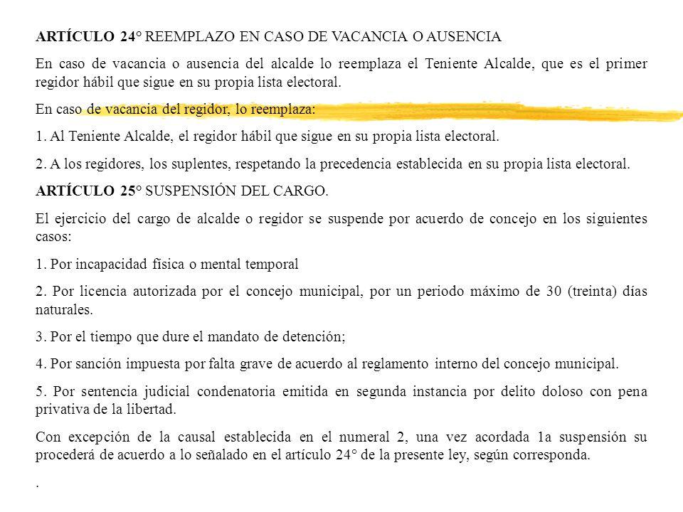 ARTÍCULO 24° REEMPLAZO EN CASO DE VACANCIA O AUSENCIA En caso de vacancia o ausencia del alcalde lo reemplaza el Teniente Alcalde, que es el primer regidor hábil que sigue en su propia lista electoral.