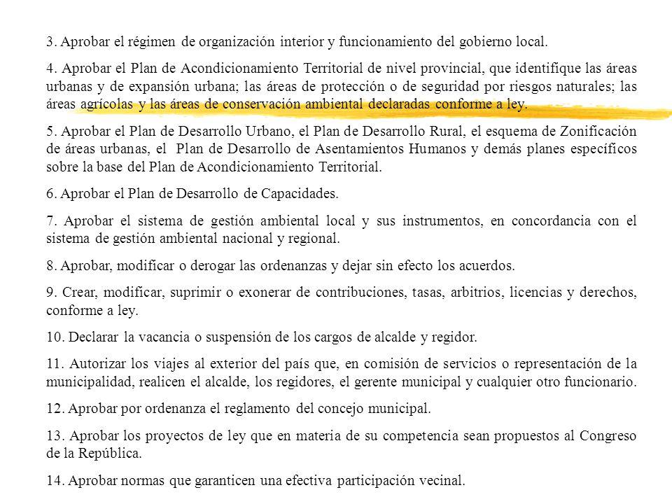 3. Aprobar el régimen de organización interior y funcionamiento del gobierno local.