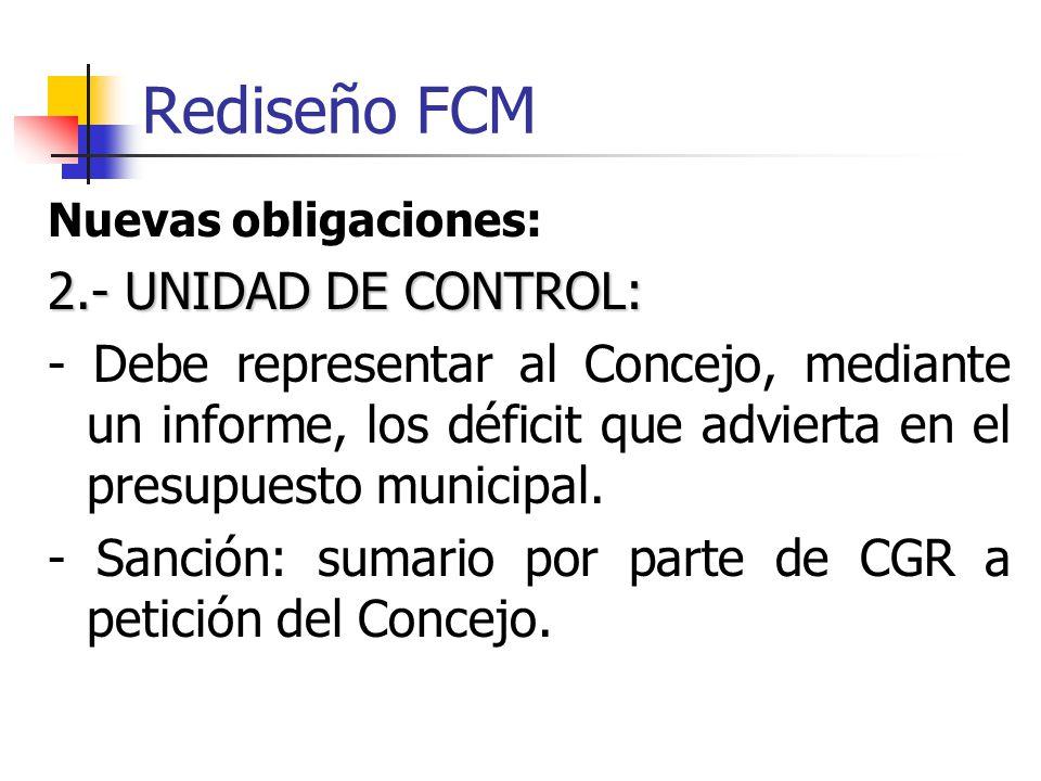 Rediseño FCM Nuevas obligaciones: 2.- UNIDAD DE CONTROL: - Debe representar al Concejo, mediante un informe, los déficit que advierta en el presupuesto municipal.