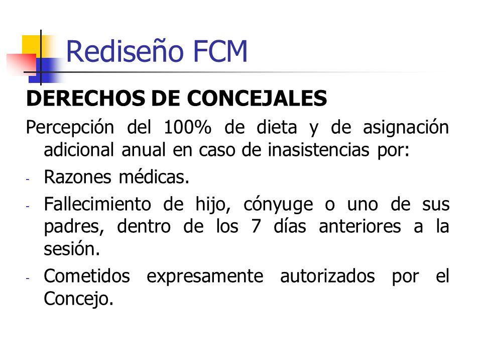 Rediseño FCM DERECHOS DE CONCEJALES Percepción del 100% de dieta y de asignación adicional anual en caso de inasistencias por: - Razones médicas.