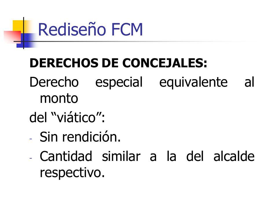 Rediseño FCM DERECHOS DE CONCEJALES: Derecho especial equivalente al monto del viático : - Sin rendición.