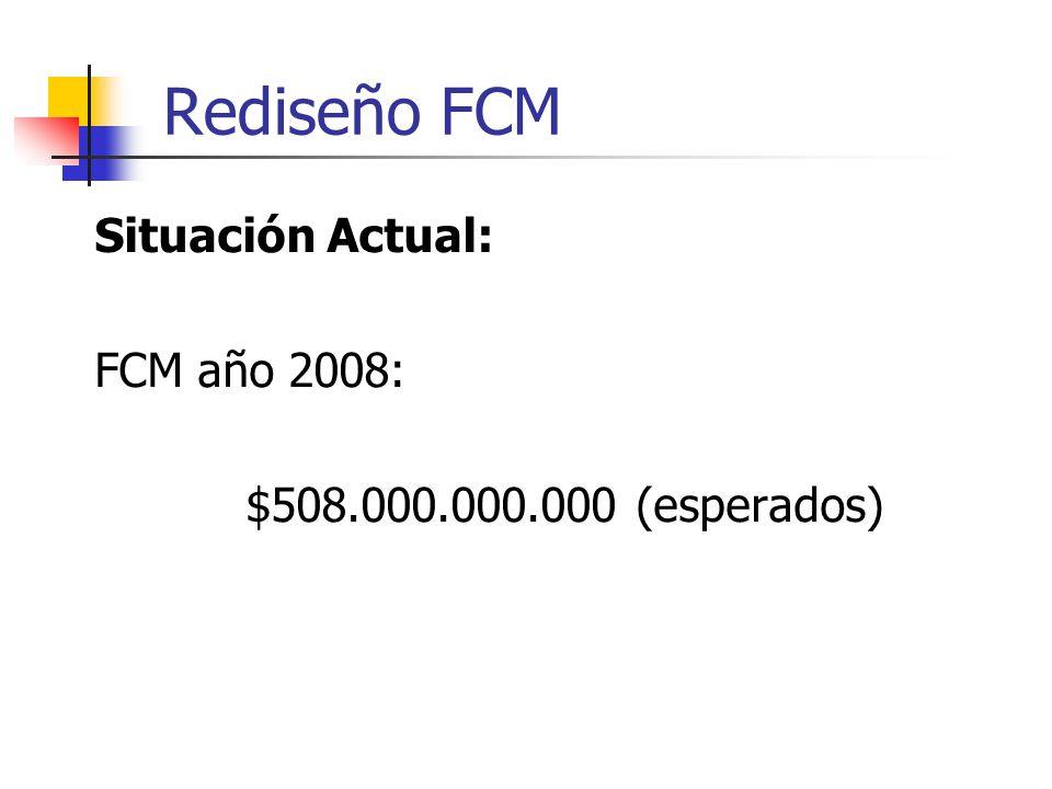 Rediseño FCM Situación Actual: FCM año 2008: $508.000.000.000 (esperados)