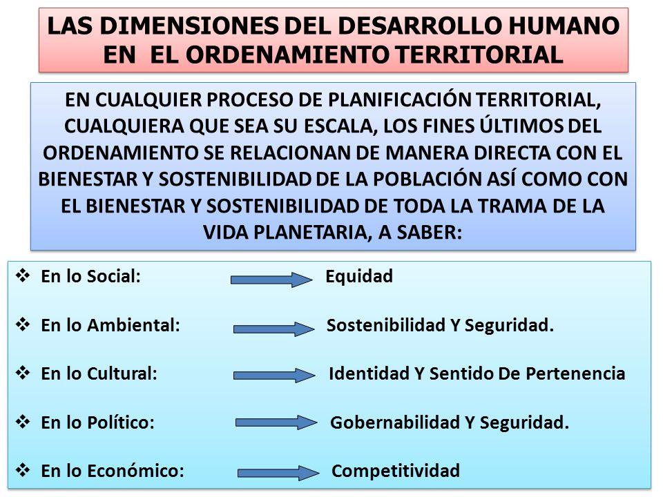  En lo Social: Equidad  En lo Ambiental: Sostenibilidad Y Seguridad.