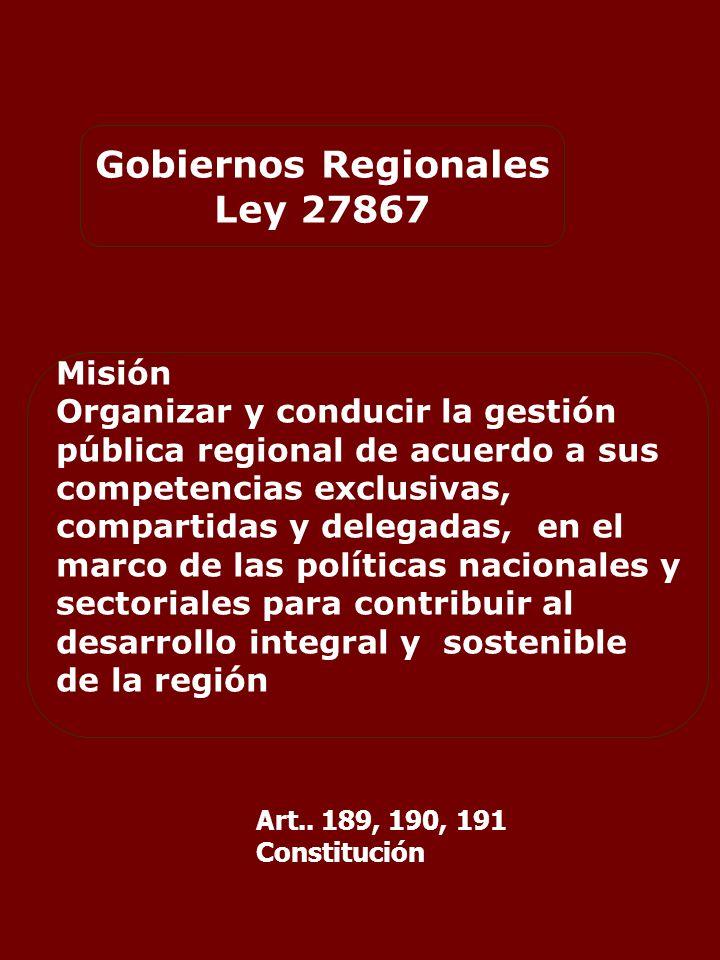 Gobiernos Regionales Ley 27867 Misión Organizar y conducir la gestión pública regional de acuerdo a sus competencias exclusivas, compartidas y delegadas, en el marco de las políticas nacionales y sectoriales para contribuir al desarrollo integral y sostenible de la región Art..