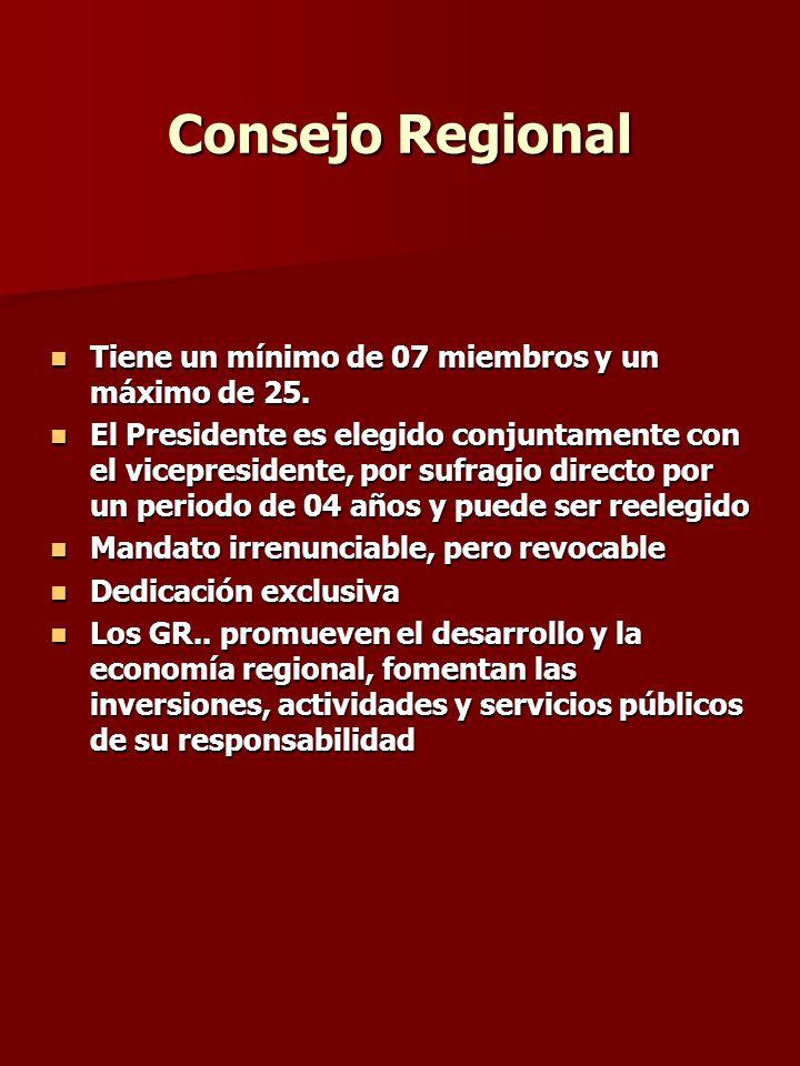Consejo Regional Tiene un mínimo de 07 miembros y un máximo de 25.