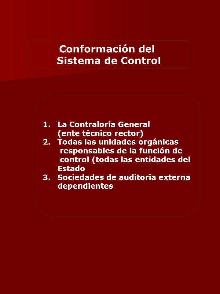 Conformación del Sistema de Control 1.La Contraloría General (ente técnico rector) 2.Todas las unidades orgánicas responsables de la función de control (todas las entidades del Estado 3.Sociedades de auditoria externa dependientes