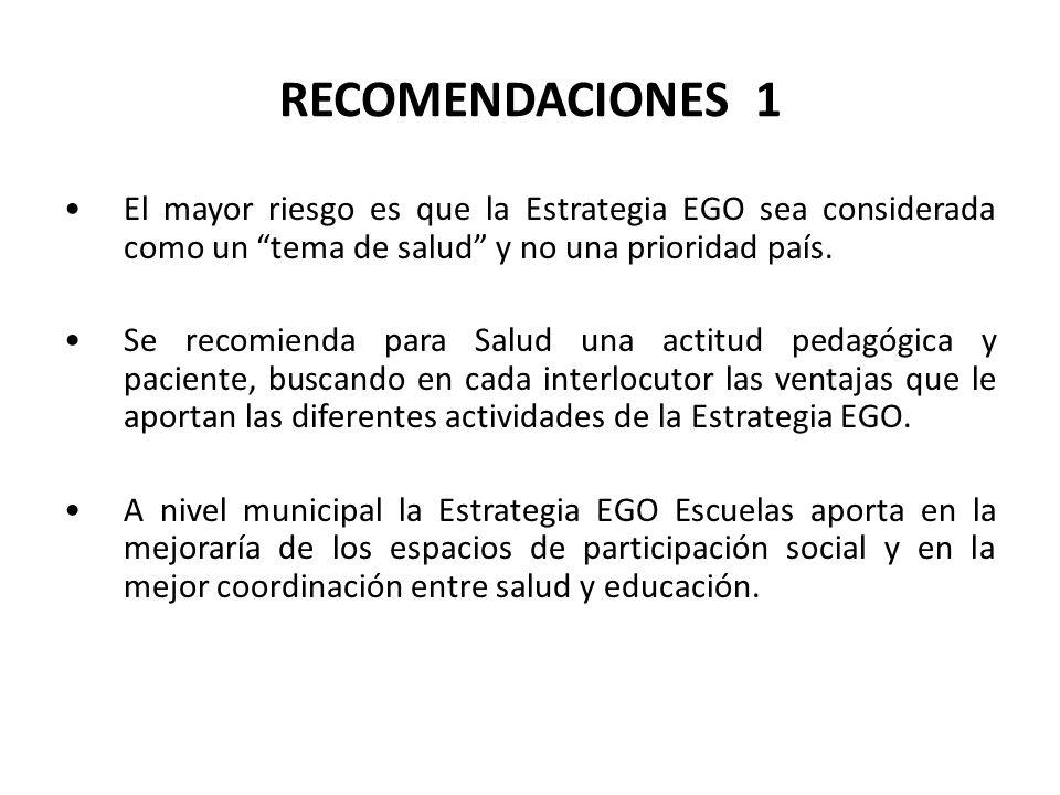 RECOMENDACIONES 1 El mayor riesgo es que la Estrategia EGO sea considerada como un tema de salud y no una prioridad país.